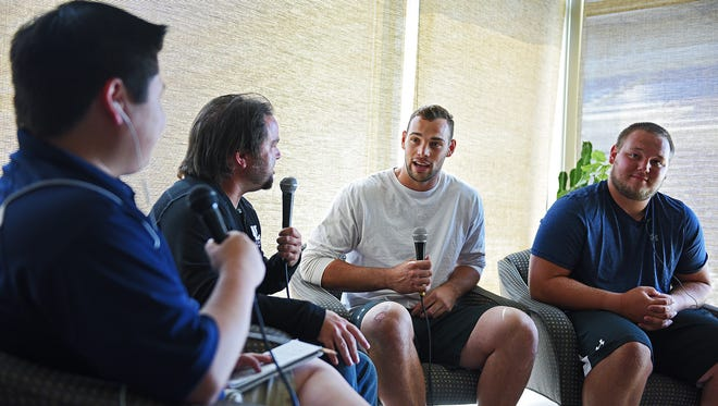 Argus Leader Media's Brian Haenchen and Matt Zimmer do a live interview with SDSU's Dallas Goedert  and teammate Cole Langer during South Dakota State University's media day Monday, Aug. 15, 2016, in the Sanford-Jackrabbit Athletic Complex on the SDSU campus in Brookings, S.D.