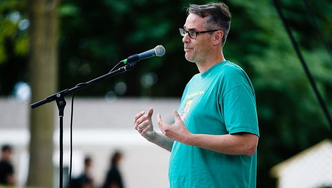 Jay Byers tells his story during the Register's Storytellers Project at the Iowa State Fair on Saturday, August 20, 2016 in Des Moines.