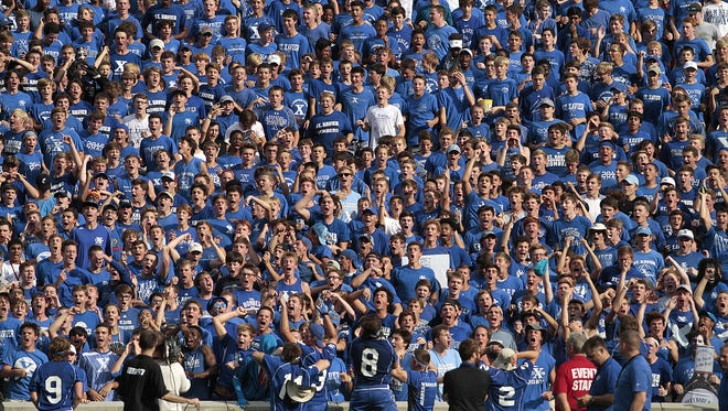 The St. X Bomber cheering section made their presence know to start the game.  St. Xavier took on St. John Bosco out of California as part of the Skyline Crosstown Showdown at Nippert Stadium Saturday, August 27, 2016.