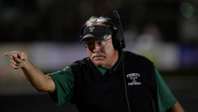 Head coach Bob Beatty during theTrinity football game against Lafayette in Lexington, KY on Friday, September 3, 2016.