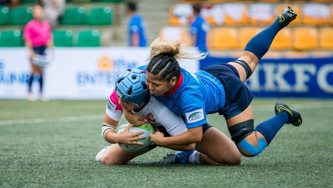 In this file photo, Guam Rugby's Heineken Women's Sevens team competes in an Asia Rugby Sevens Series tournament in Hong Kong.