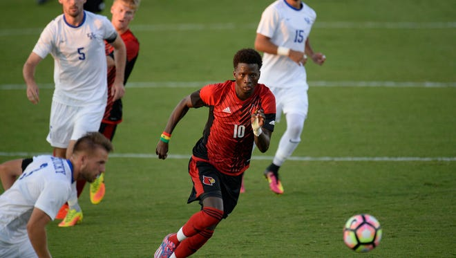 U of L's Mohamed Thiaw during the University of Kentucky mens soccer match against University of Louisville at the Wendell & Vickie Bell Complex in Lexington, KY on Tuesday, September 6, 2016.
