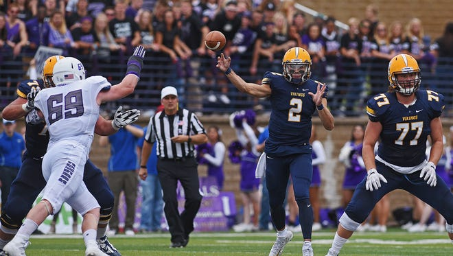 Augustana quarterback Trey Heid (2) throws a pass during a game against USF Saturday, Oct. 1, 2016, at Kirkeby-Over Stadium on the Augustana University campus in Sioux Falls.