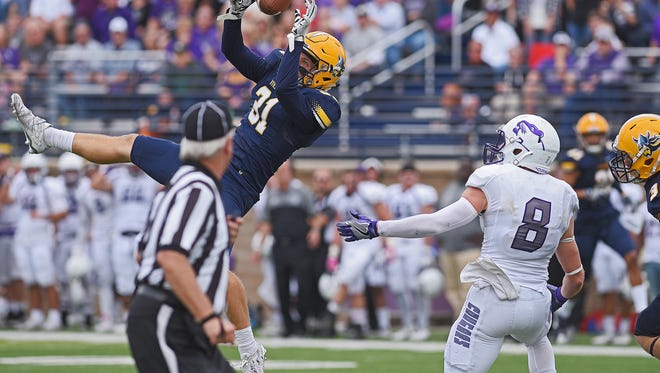 Augustana's Trevor Naasz (31) nearly intercepts a pass during a game against USF Saturday, Oct. 1, 2016, at Kirkeby-Over Stadium on the Augustana University campus in Sioux Falls.