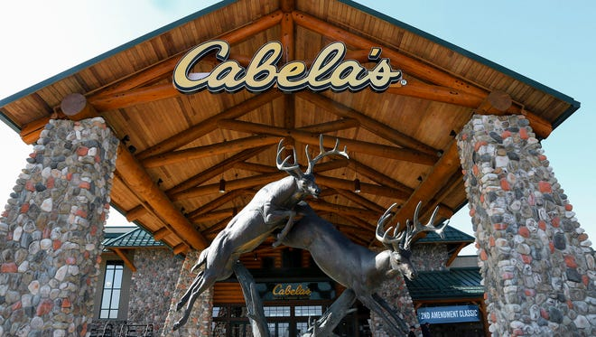 Statues of wildlife adorn the entrance to a Cabela's store in LaVista, Neb., in February 2016.