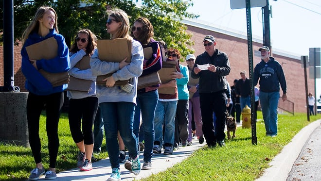 Groups of walkers start off from South Western High School on Sunday Oct. 20, 2013 for the 37th annual Hanover Area CROP Hunger Walk.  Shane Dunlap - The Evening Sun