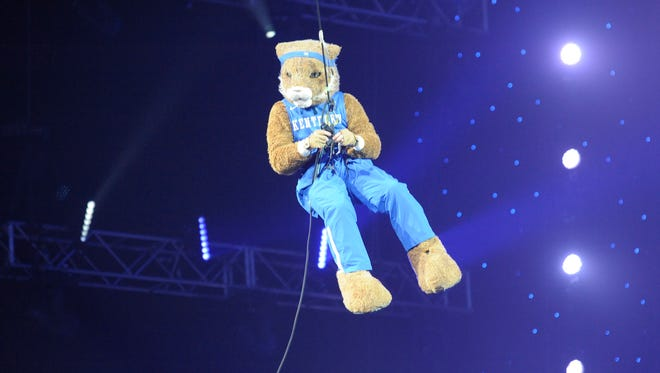 UK mascot repels down to the floor during the University of Kentucky basketball's Big Blue Madness at Rupp Arena in Lexington, KY on Friday, October 14, 2016.