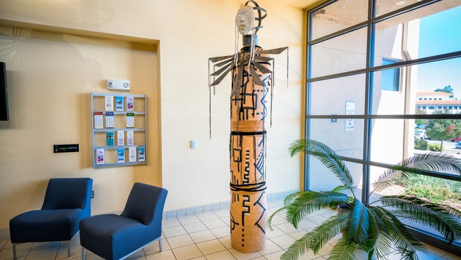 """The first sculpture will be dedicated on Friday, October 21 at 10:30 a.m. in the School of Nursing Building lobby. Titled """"Alter 1"""", the piece was created by Rose B. Simpson, an award-winning artist who resides in Española."""