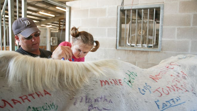 From left, Matt and Amelia Cunningham sign Apache the horse with washable markers at Saddle Up!'s 25th Anniversary on Saturday, October 15, 2016 in Franklin, Tenn.