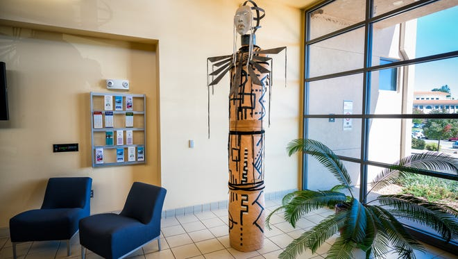 """This sculpture will be dedicated at 10:30 a.m. on Friday, Oct. 21, 2016 in the School of Nursing Building lobby. Titled """"Alter 1,"""" the piece was created by Rose B. Simpson, an award-winning artists who resides in Santa Fe."""
