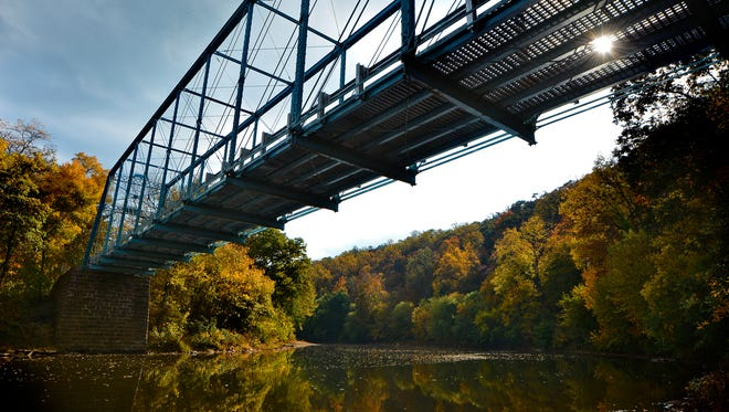 Fall foliage is in near full color along the Conewago Creek where Sheep Bridge, built in 1889, crosses in Conewago Township. Thursday October 20, 2016.John A. Pavoncello photo