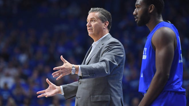 UK's head coach John Calipari during the University of Kentucky Blue-White basketball scrimmage at Rupp Arena in Lexington, KY on Friday, October 21, 2016.
