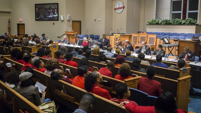 Nine candidates attend a forum at Canaan Baptist Church in New Castle on Monday night.