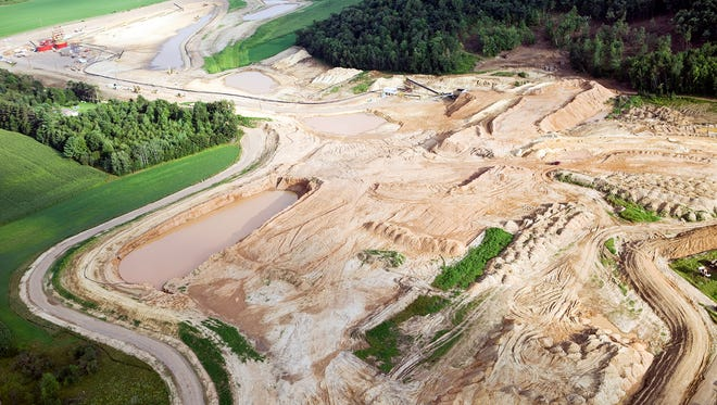 This is an aerial view of a northwestern Wisconsin frac sand mining operation.