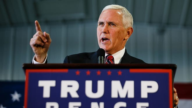 Republican vice presidential nominee Mike Pence speaks during a rally on Thursday, Nov. 3, 2016, in Prole.