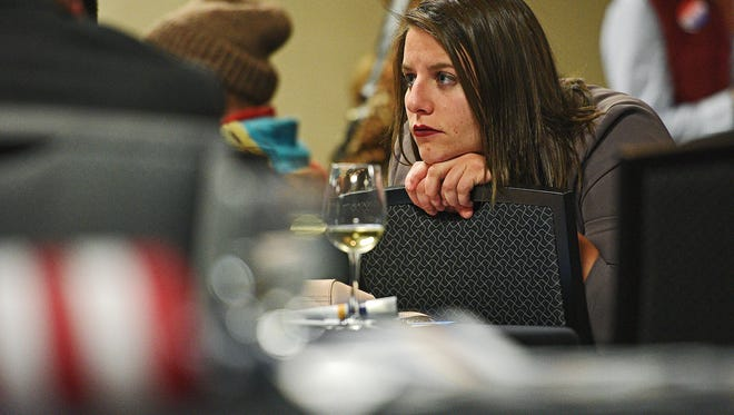Sami Zoss, of Sioux Falls, watches election results during the South Dakota Democratic Party's Election Night event Tuesday, Nov. 8, 2016, at the Holiday Inn Sioux Falls City Centre in downtown Sioux Falls.