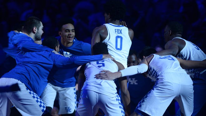UK's De'Aaron Fox pumps up the team before the University of Kentucky basketball game against Stephen F. Austin at Rupp Arena in Lexington, KY on Friday, November 11, 2016.