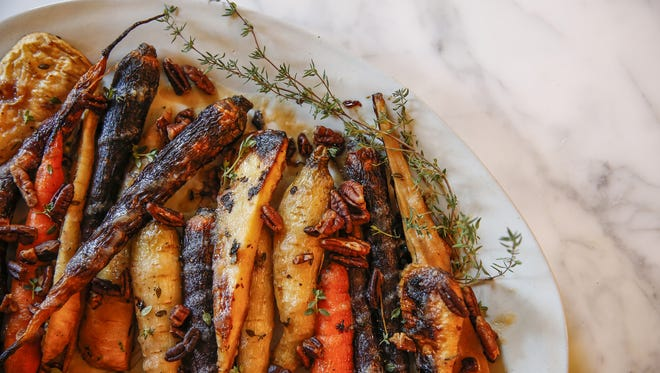 Dish by Jessica Flores - Head Pastry Chef at Open Society - Thyme Brown Butter Rainbow Carrots and Parsnips.