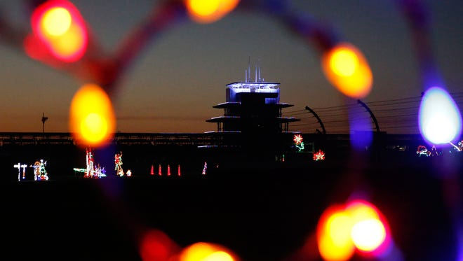 A look at the Pagoda at the Indianapolis Motor Speedway's new holiday attraction Lights at the Brickyard on Nov. 16, 2016.