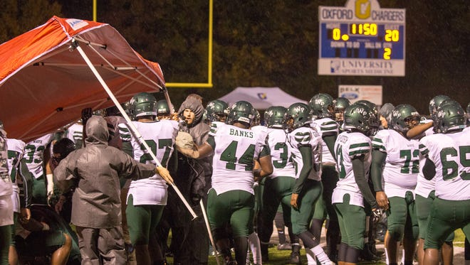 West Point dominated the first half of the contest against Oxford High School, in difficult wind and rain conditions at the second round of the 5A MHSAA playoff at Oxford Friday Nov. 18.