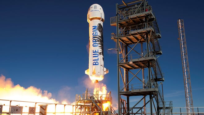 Blue Origin's New Shepard launching from the company's private range in West Texas.