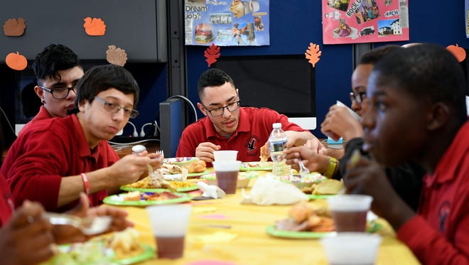Manchester Regional High School's special education class cooked a Thanksgiving Day meal for select teachers and staff with skills they learned in class in Haledon, NJ on Tuesday, November 22, 2016.