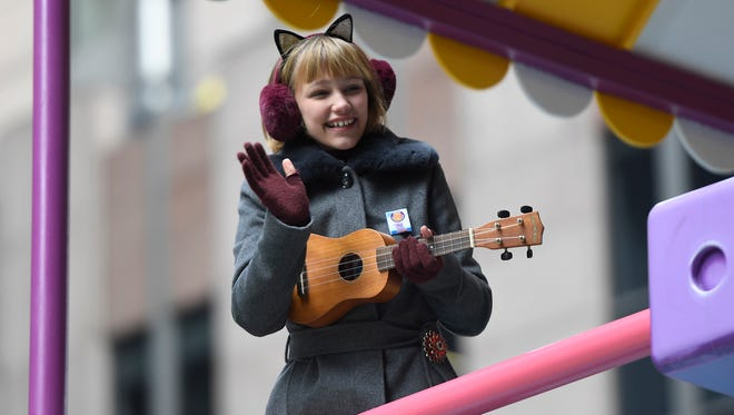Grace VanderWaal rides the GoldieBlox float in the Macy's 90th Thanksgiving Day parade in New York City, NY on Thursday, Nov. 24, 2016.