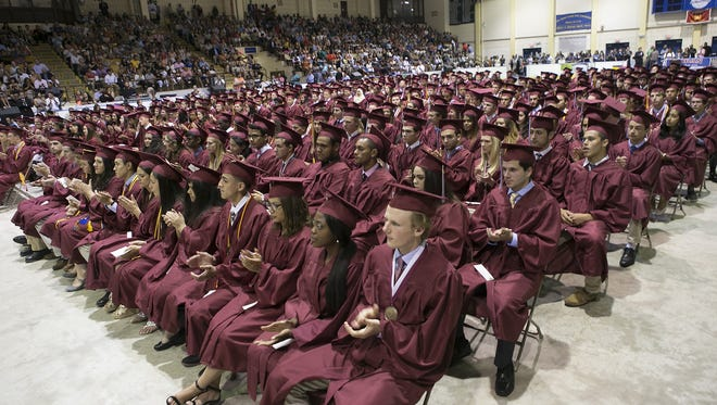 Morristown High School graduates 399 students during the school's commencement exercises at Mennen Arena, Morristown, NJ. June 22, 2016.