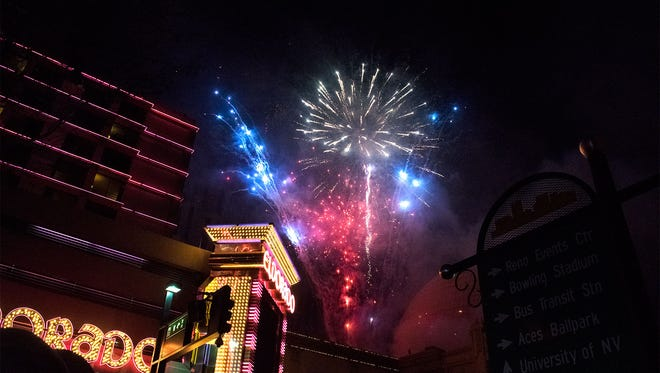 Silver Legacy and Harrah's Casino show off their New Year's Eve fireworks show to welcome 2017 in downtown Reno.