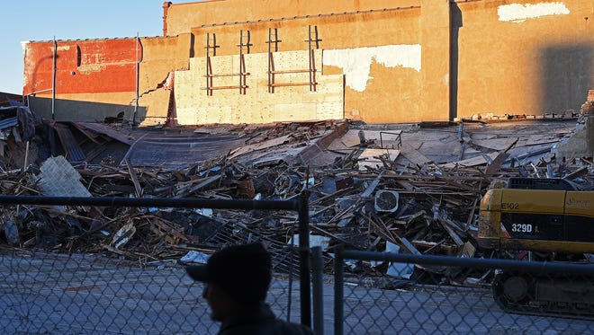 All that remains of the Copper Lounge building in downtown Sioux Falls after construction crews demolished what was left Thursday, Dec. 8, 2016, after it collapsed last Friday killing one and injuring another.
