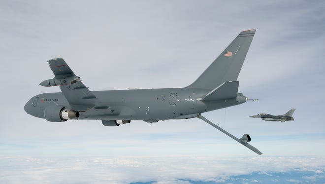 The KC-46A Pegasus deploys the centerline boom for the first time Oct. 9, 2015. The boom is the fastest way to refuel aircraft at 1,200 gallons per minute.