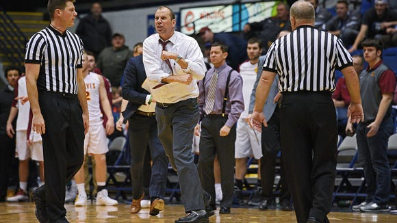 Northern State head men's basketball coach Paul Sather reacts to a call before being ejected during a game against Augustana Saturday, Jan. 14, 2017, at the Sioux Falls Arena in Sioux Falls. Northern State lost to Augustana 80-66.