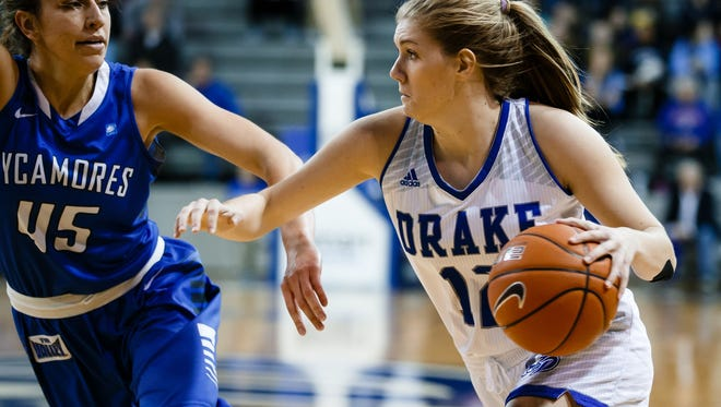 Drake's Brenni Rose drives to the net against Indiana State's Rhagen Smith during their basketball game on Sunday, Jan. 22, 2017, in Des Moines.