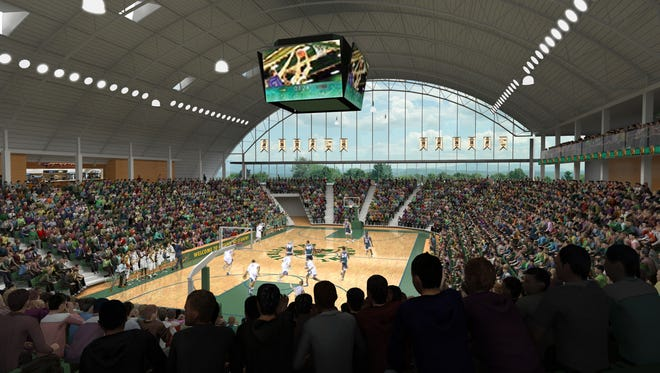 An artist's rendering of the proposed events center at the University of Vermont unveiled Friday.