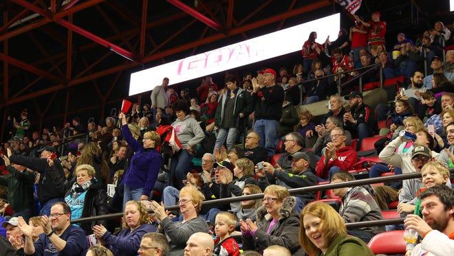 Fans cheer during Saturday's game between Albany and the Binghamton Senators.