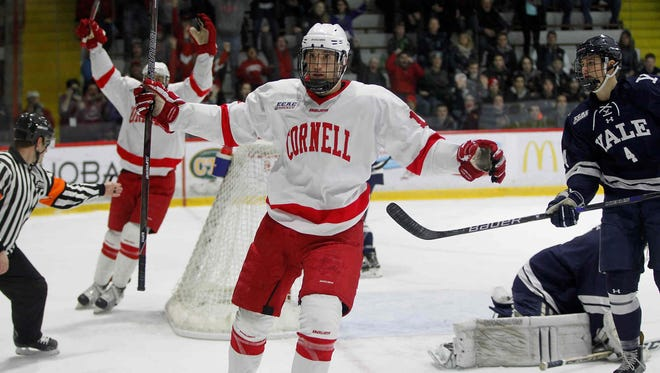 Cornell tied Yale, 2-2, in an ECAC Hockey game on Saturday, Jan. 11 at Lynah Rink in Ithaca.