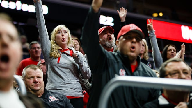 North Scott fans cheer during their teams match against Fort Dodge at the Wrestling State Team Dual tournament on Wednesday, Feb. 15, 2017 in Des Moines.