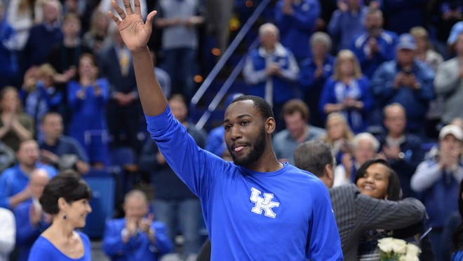 UK senior Dominique Hawkins waves to the fans before to the University of Kentucky basketball game against Vanderbilt University at Rupp Arena in Lexington, KY on Tuesday, February 28, 2017.