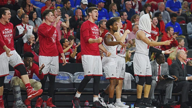 USD players react from the bench during a Summit League Tournament semifinal game against SDSU Monday, March 6, 2017, at the Denny Sanford Premier Center in Sioux Falls.