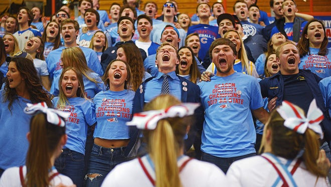 Lincoln fans cheer on their team during a 2017 SDHSAA Class AA State Boys Basketball quarterfinal game against Huron Thursday, March 16, 2017, at Rushmore Plaza Civic Center in Rapid City. Lincoln beat Huron 56-47 in overtime.