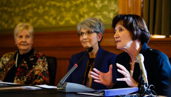 The Governor's Iowa Board of Regents appointees including Nancy Dunkel, right, have their presentation before the Senate Education Committee at the Statehouse on Wednesday, March 22, 2017, in Des Moines.