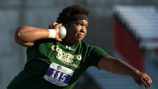 CSU's Aaliyah Pete, shown compete last year, won the women's shot put title for the fourth straight year at the Mountain West Outdoor Track and Field Championships on Saturday in Logan, Utah. CSU's men's and women's teams each finished second.