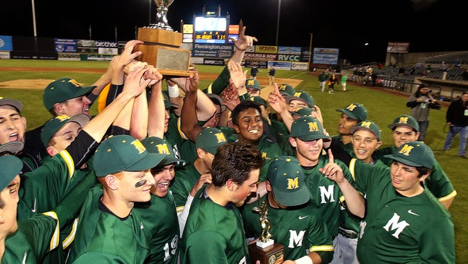 Montgomery vs. Watchung Hills baseball inthe Somerset County Tournament final at TD Bank Park. Montgomery celebrates their win Monday May 16, 2016 photo by Ed Pagliarini