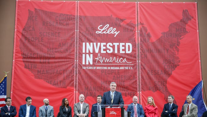 Indiana Gov. Eric Holcomb speaks during a press conference announcing that Eli Lilly and Co. will spend $85 million in the city of Indianapolis to expand its assembly of an injection device for the diabetes drug dulaglutide on Friday, March 24, 2017. The $850 million investment spent across its U.S. operations this year will be used to expand research laboratories, manufacturing facilities and offices.