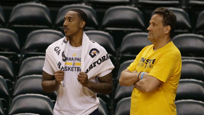 Cincinnati's Troy Caupain and Pacers Assistant Coach Bill Banyo during the Indiana Pacers workout at Bankers Life Fieldhouse on Monday, May 22, 2017.