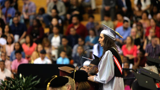 Student Aleksandra Polshakova speaks during Union County College commencement exercises May 24, 2017.
