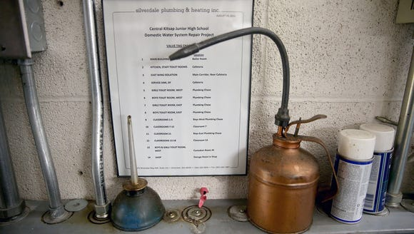 Oil cans and instructions in the boiler room at Central