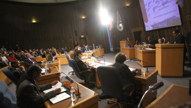 Mayor Dennis Williams delivers his budget address to the Wilmington City Council at the Louis L. Redding City/County Building in Wilmington in 2013.