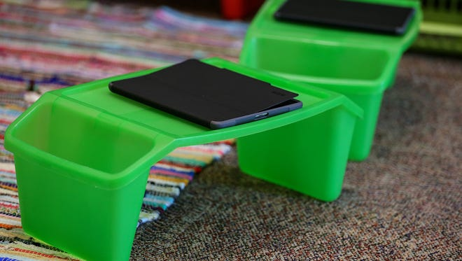 An iPad sits on a flexible seating option in an elementary classroom.