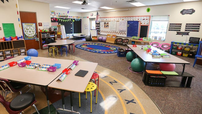 """Kindergarten teacher Jenay Burck fully transitioned to flexible classroom seating last year, as seen at Noble Crossing Elementary in Noblesville, Ind., on Tuesday, July 25, 2017. Burck's students have a """"home base"""" area to begin and conclude their day, but otherwise move about the room throughout the day, with the ability to choose their setting area according to the task at hand."""